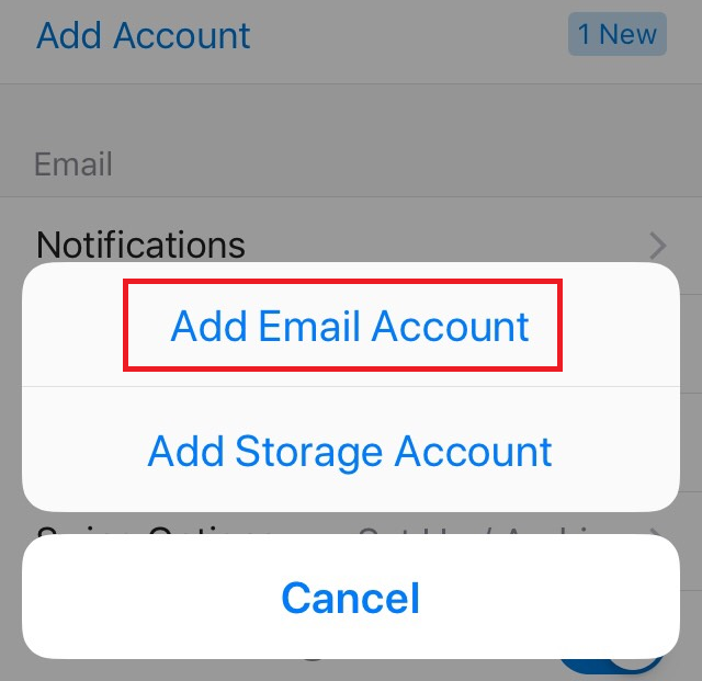 Option to Add Email Account