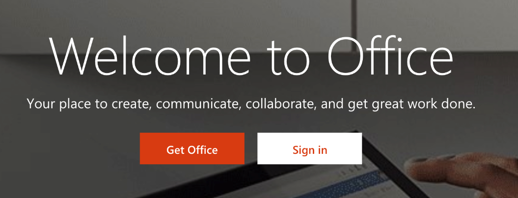 Front page of Office 365
