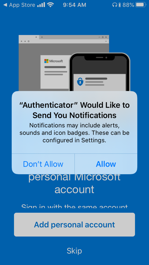 Setting up Microsoft Authenticator - notifications allowed
