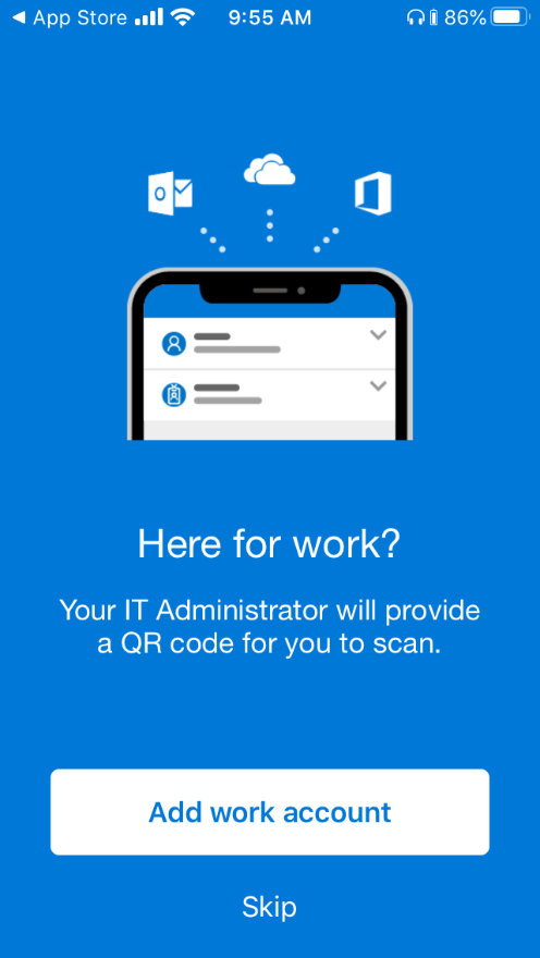 Setting up Microsoft Authenticator - here for work? screen