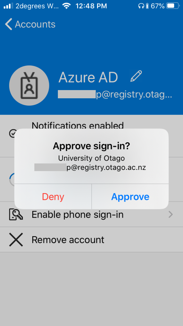 Approving your sign-in on Microsoft Authenticator