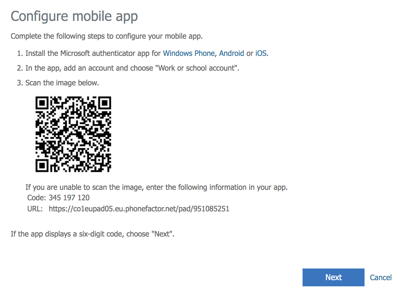 Configure mobile app page in Office 365