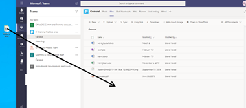 Dragging and dropping a file into the Files area in Microsoft Teams