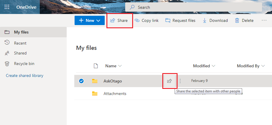 Link setting options in OneDrive