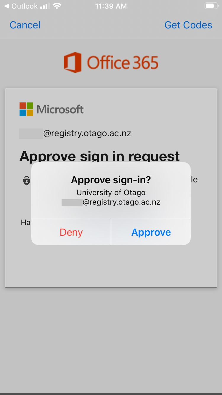 Approving signin to Office 365