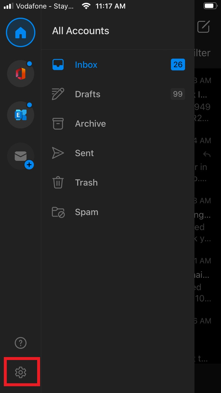 Location of Settings cog in Outlook