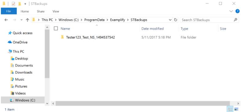 Locating the exam file in File Explorer