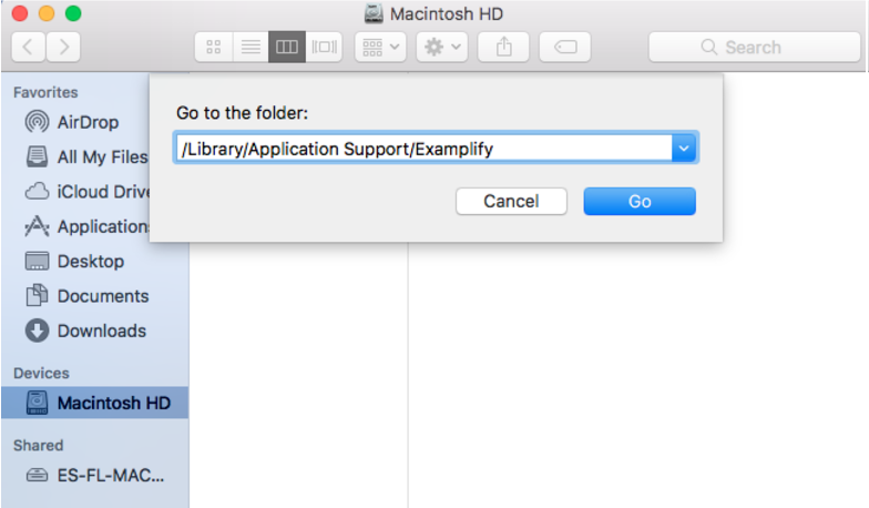 Another way of locating the exam folder in Finder