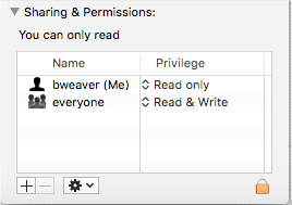 Sharing and Permissions setting in a Mac folder