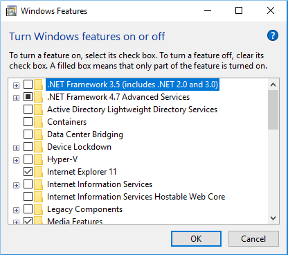 Hyper-V showing unselected in the Windows Features box