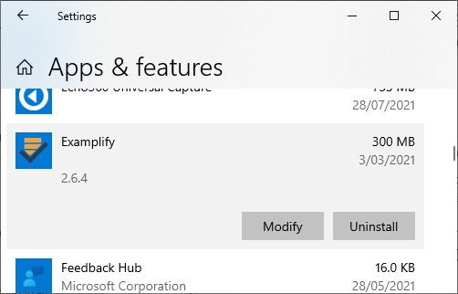 Locating Examplify version number in Windows
