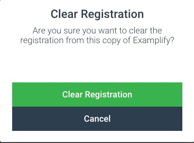 Confirm to Clear Registration in Examplify