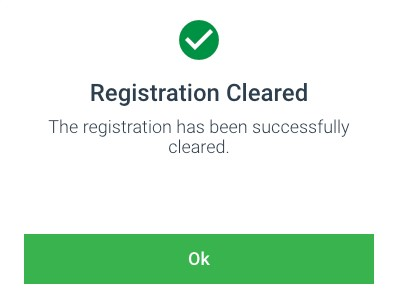 Registration Cleared in Examplify