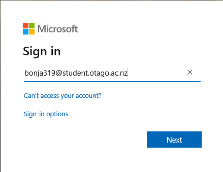 Microsoft signin screen with student email address
