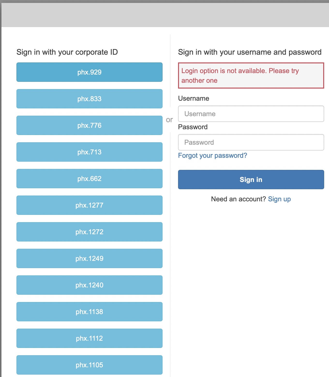 """A screenshot showing a login window with multiple corporate ID options and the message """"Login option is not available. Please try another one""""."""