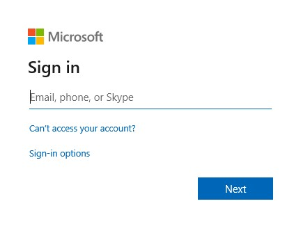 Screenshot of Microsoft sign in page