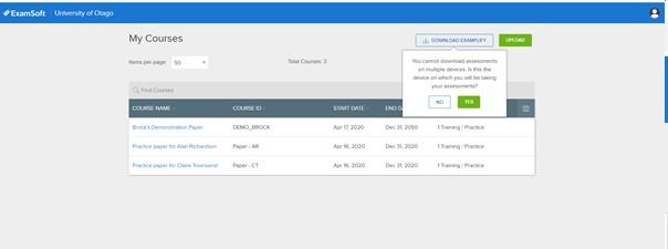Screenshot of ExamSoft homepage