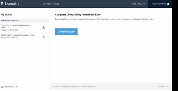 Examplify homepage showing preparation exams