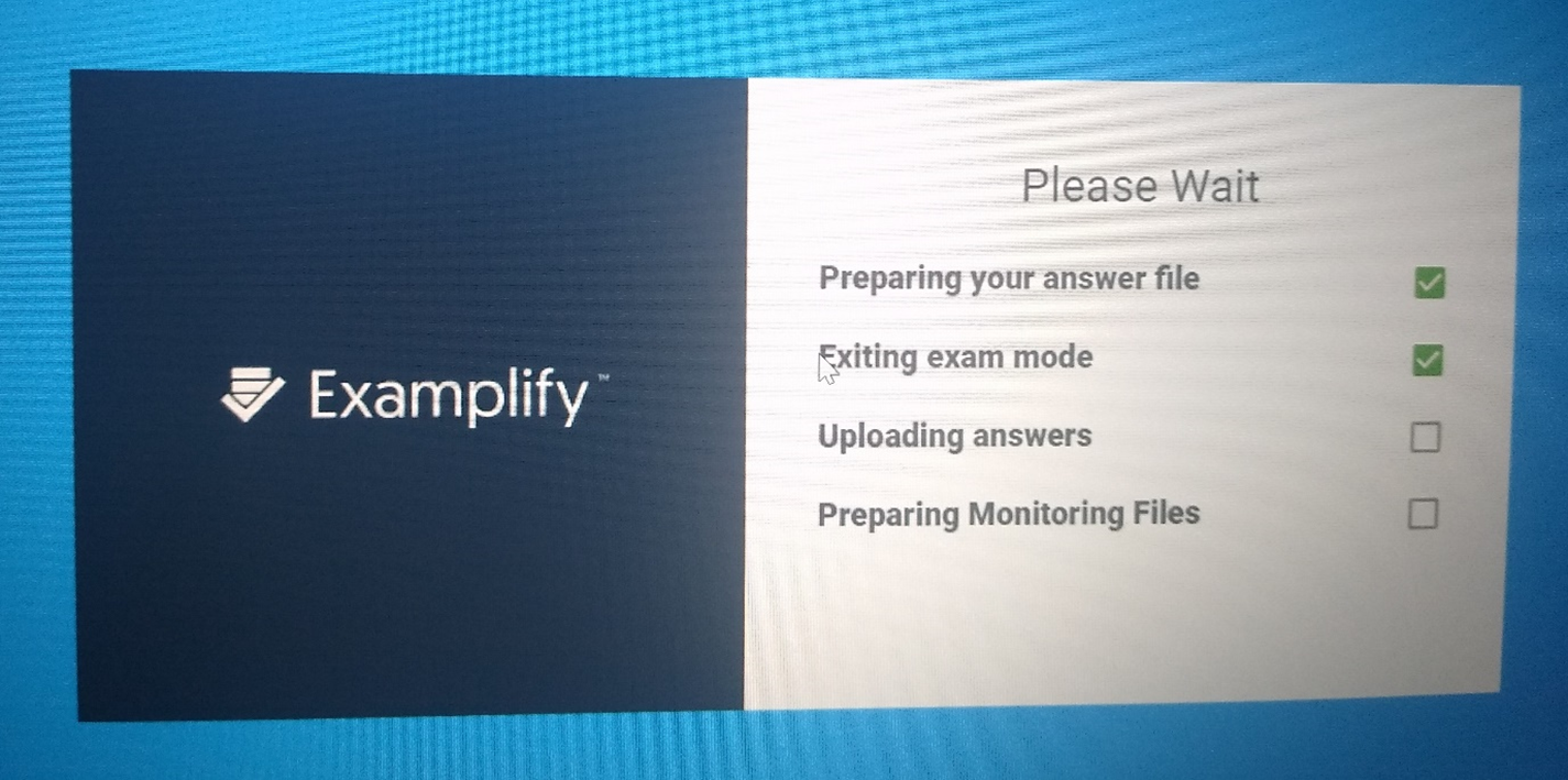 Examplify uploading screen