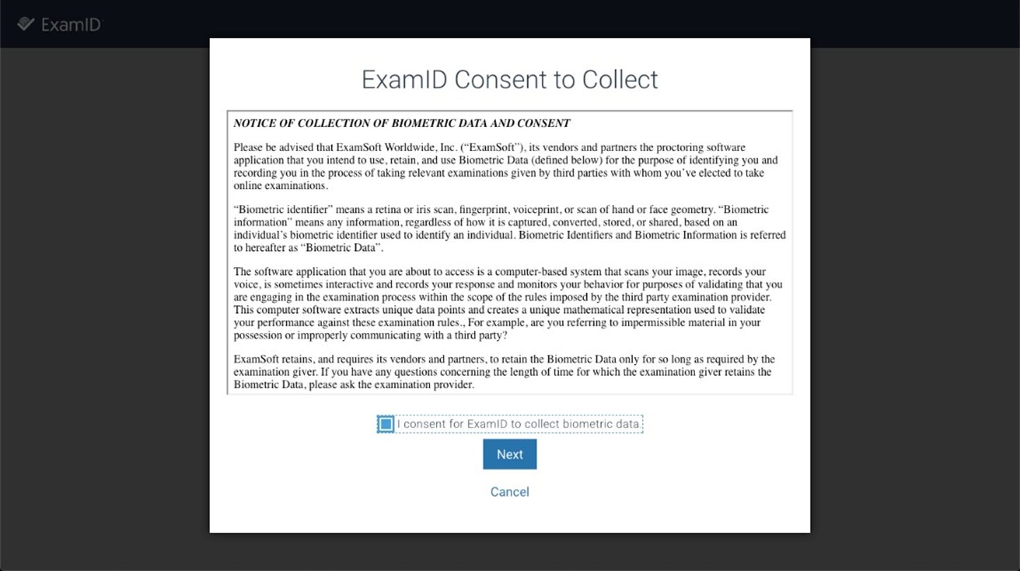 ExamID consent to collect screen