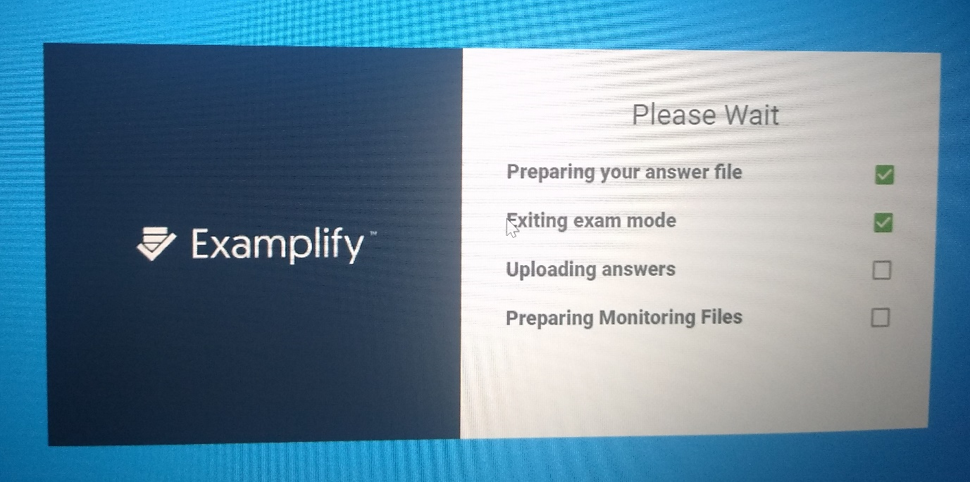 Examplify uploading screen