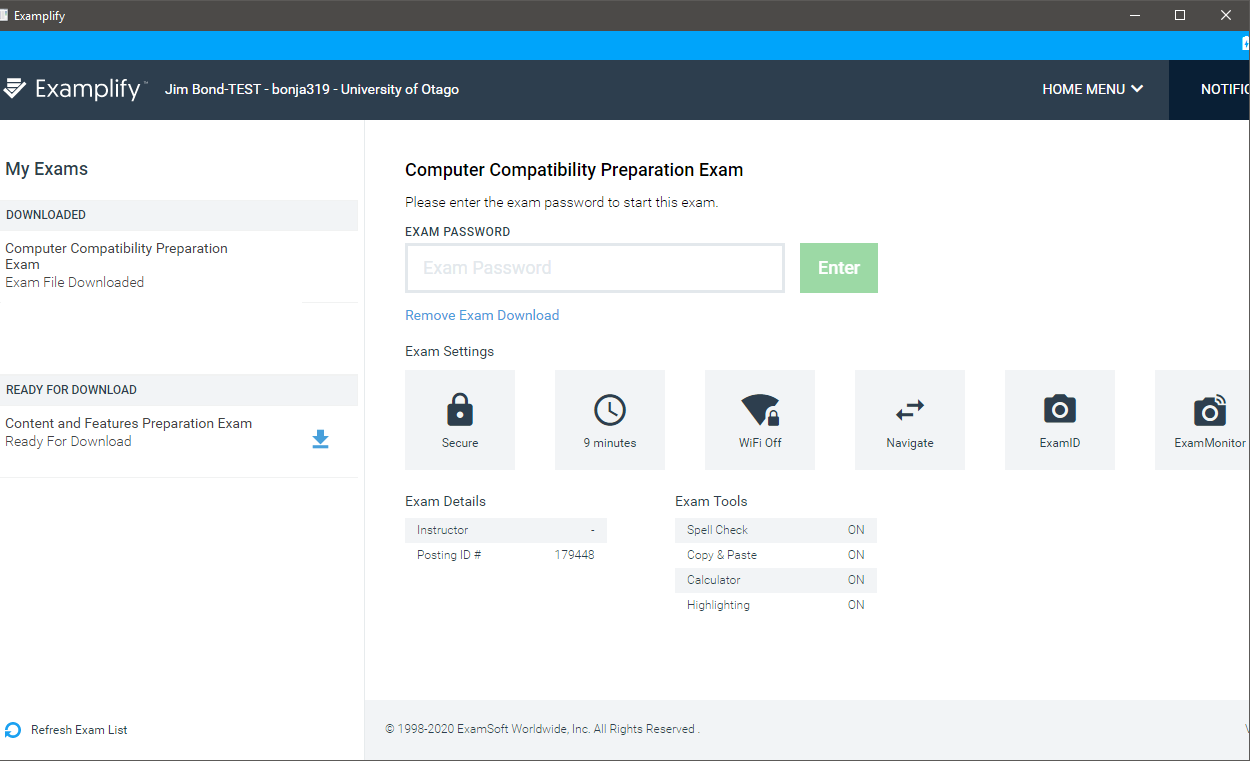 Examplify homepage showing downloaded preparation exam