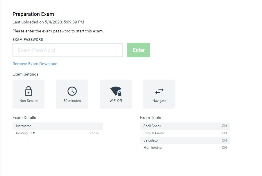 Examplify homepage showing where to enter password