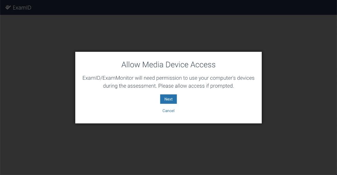 ExamID Allow Media Device Access screen