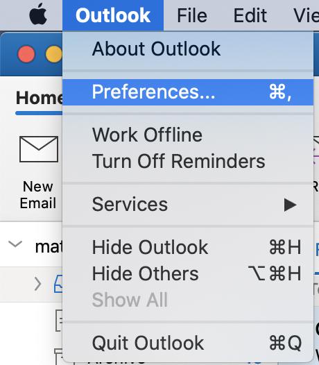 Screenshot of Preferences under Outlook menu on Mac OS