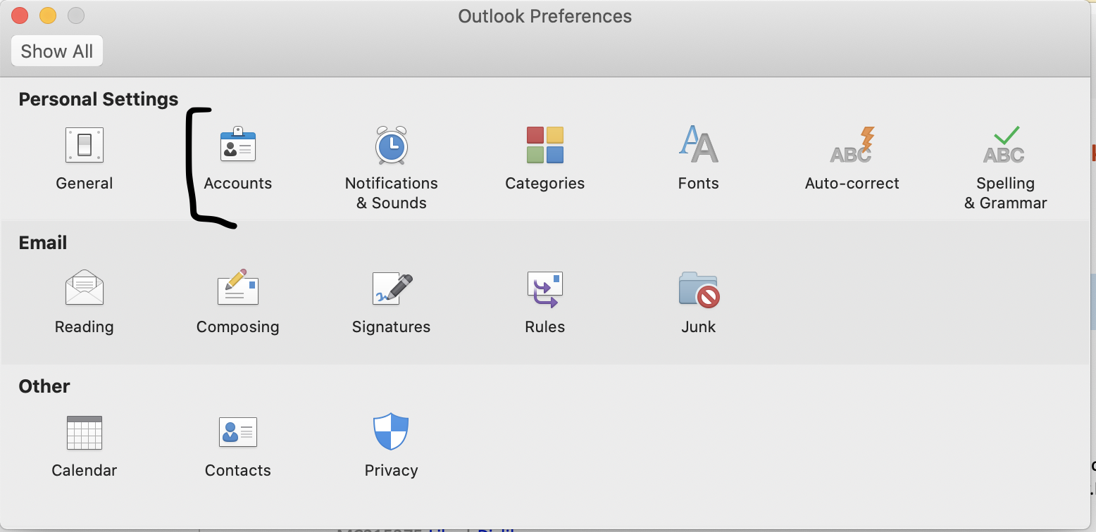 Screenshot showing location of Accounts in Outlook Preferences