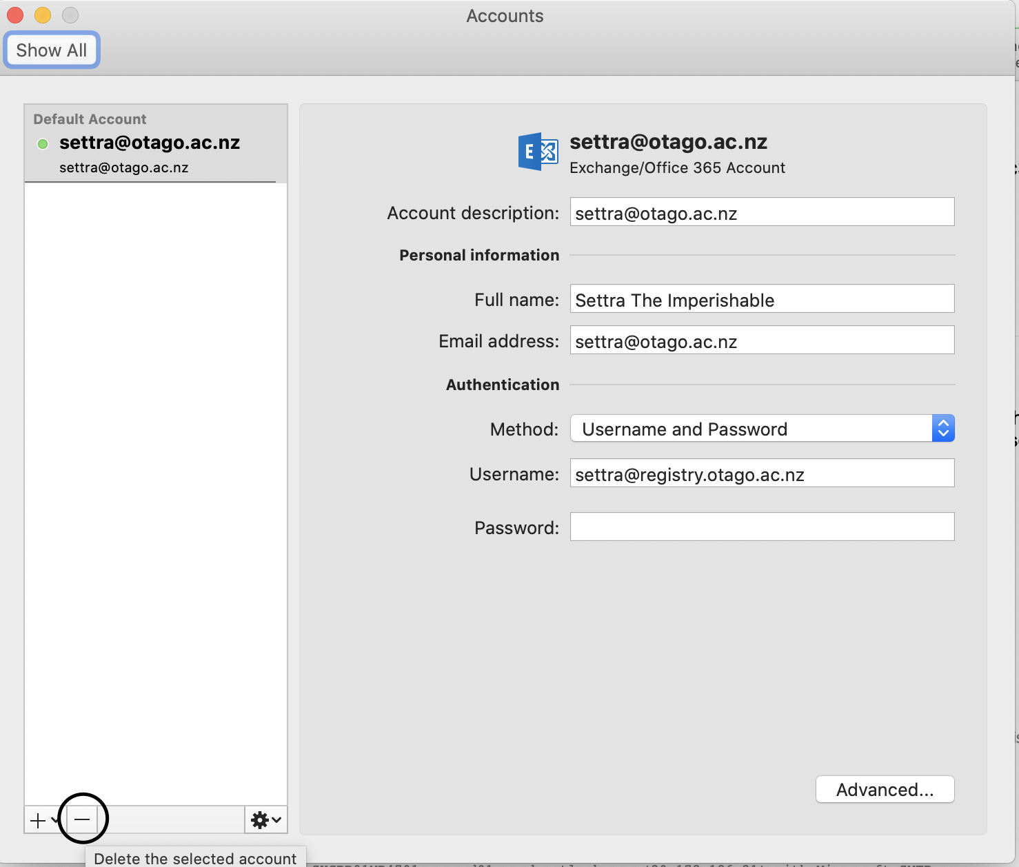 Screenshot showing removing existing account in Accounts in Outlook for macOS