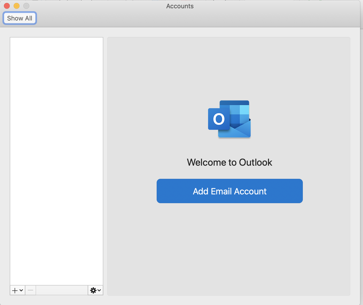 Screenshot of adding a new email account in Outlook for macOS