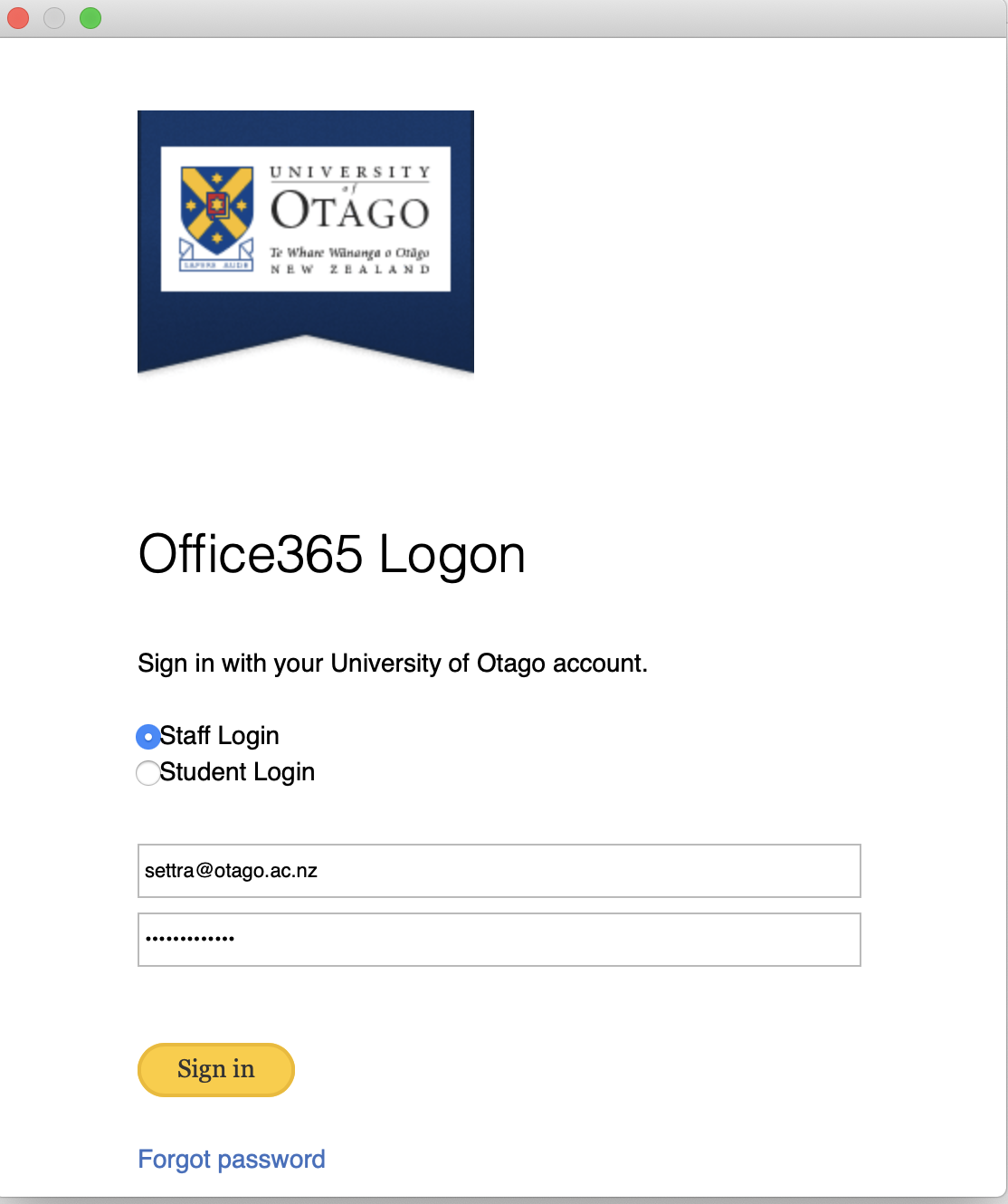 Office365 Logon screen
