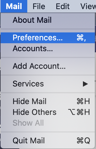 Mail menu on Mac OS