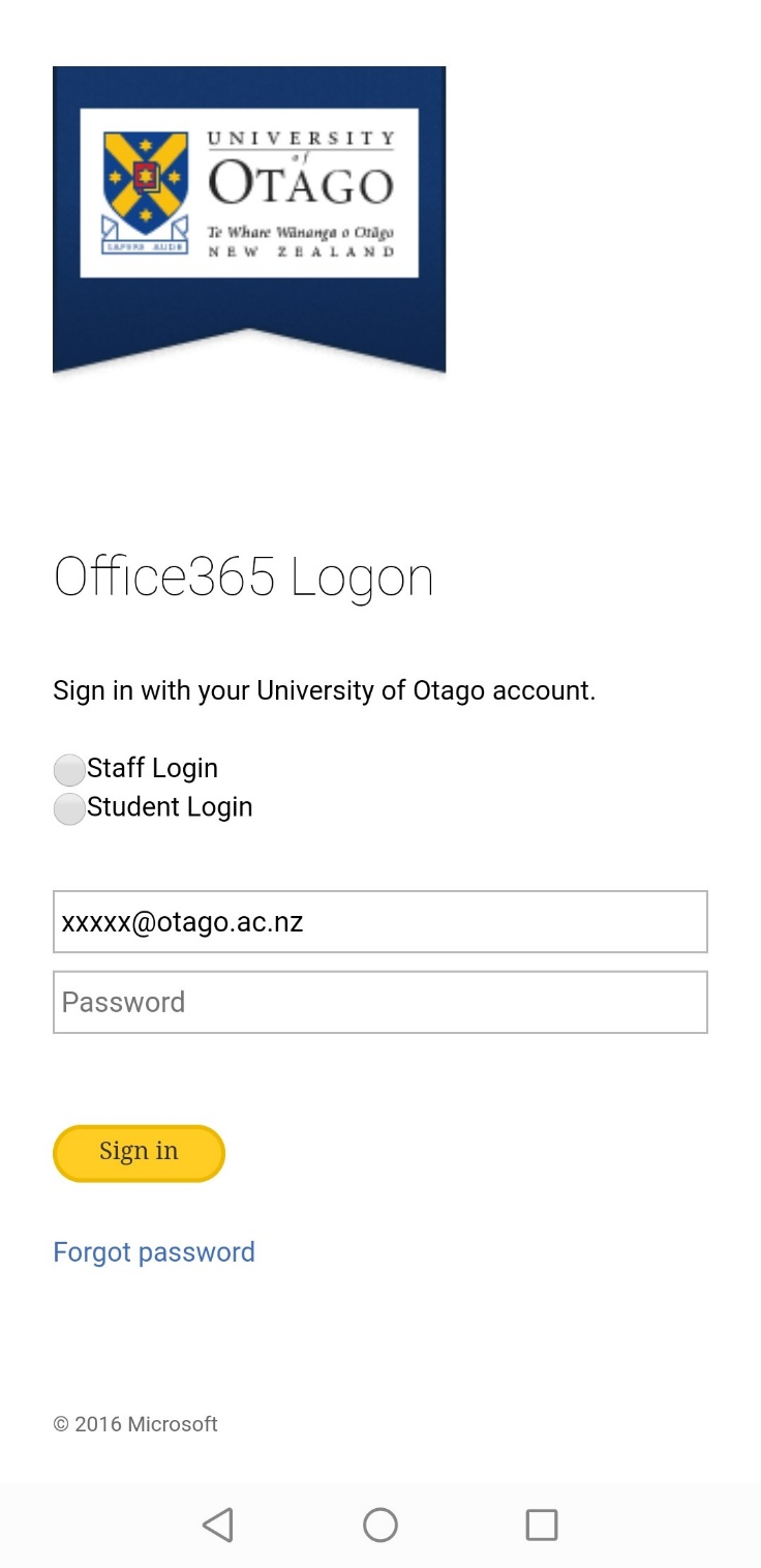 Otago Office365 Logon page