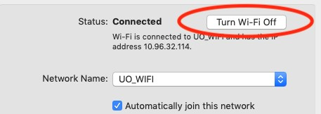 Fixing IP issue on Mac connecting to UO_Wifi Connected