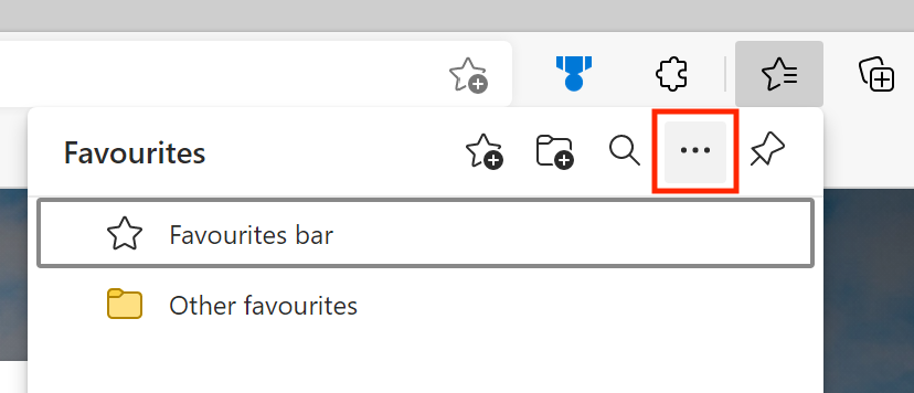 A screenshot showing the location of the three dots symbolising More options in the Microsoft Edge Favourites window.