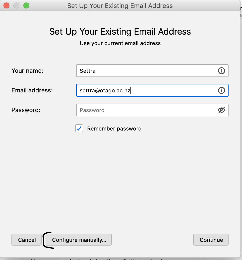 screenshot of step 2 Set Up Your Existing Email Address window in Thunderbird