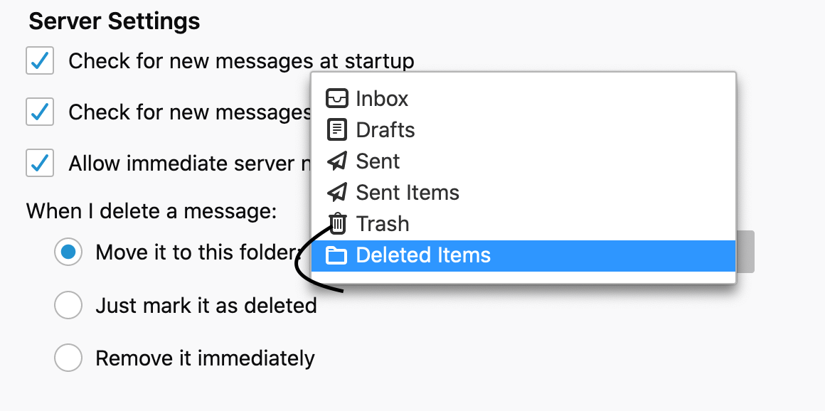 screenshot of step 6 Copies & Folder tab in Microsoft 365 - deleting messages