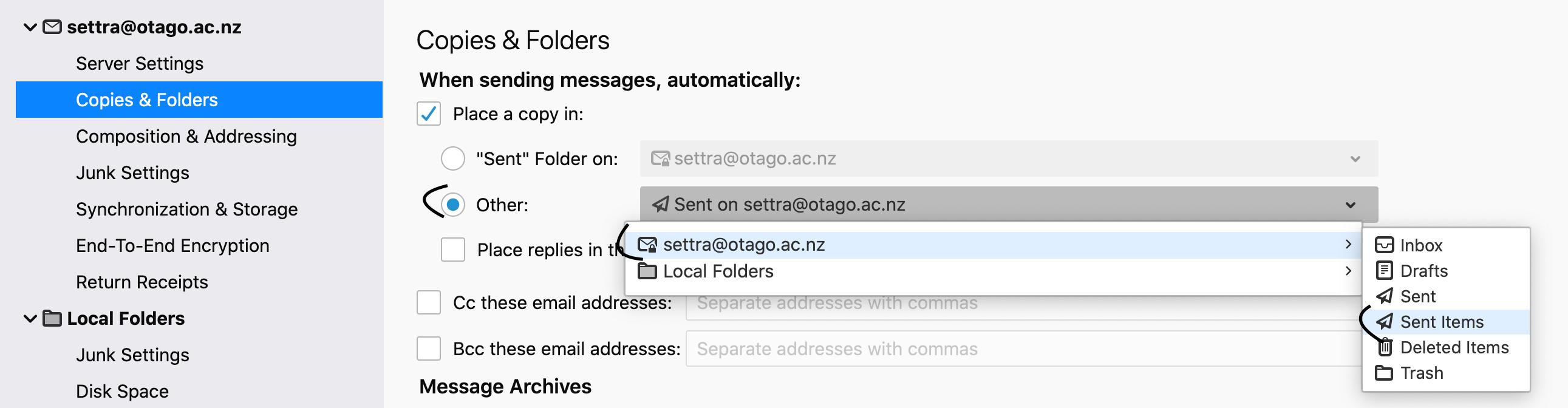 screenshot of step 7 Copies and Folders tab in Microsoft 365 - sending messages