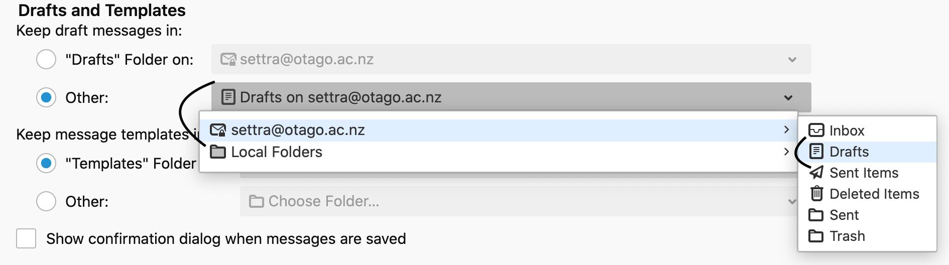 screenshot of step 8 Copies & Folders tab in Microsoft 365 - draft messages