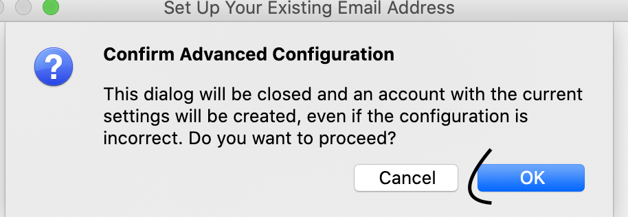 screenshot of step 6 The Confirm Advanced Configuration prompt in Thunderbird