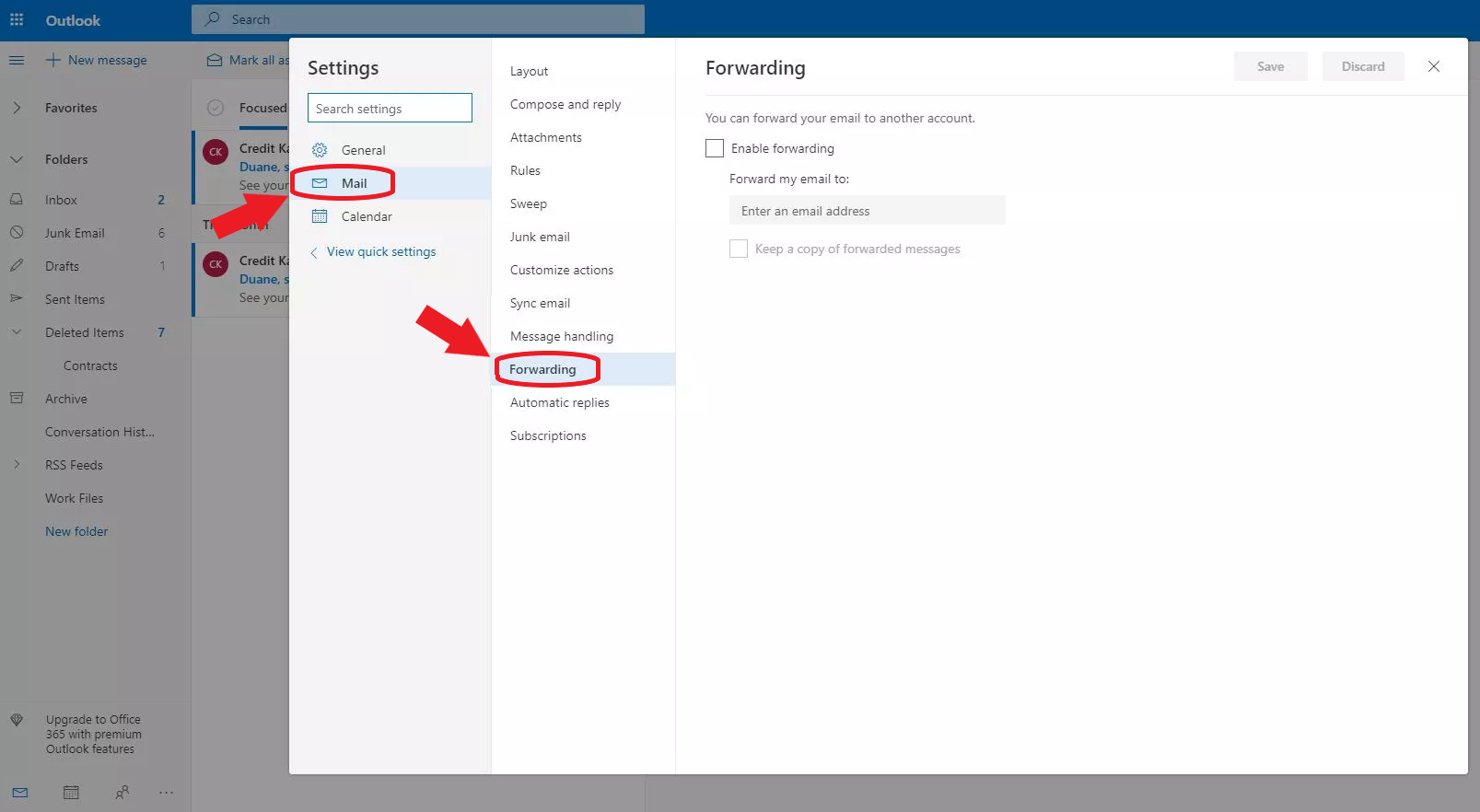 Finding the Mail Forwarding setting in Outlook.com
