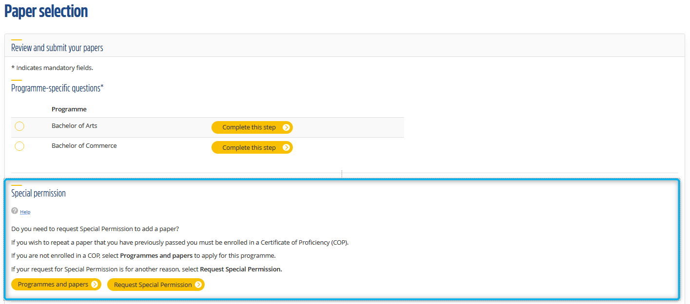 An eVision screenshot showing the Special Permission section of the Review and Submit page of Paper selection.