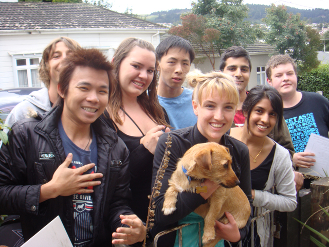 Students with Dog
