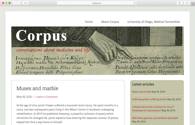 Screenshot of Corpus blog