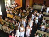 Carrington students getting ready for the University Orientation Week Toga Party