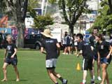 Carrington College students playing touch rugby at the Residential Colleges' Sports Day