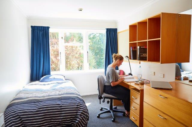 Students studying in Stuart bedroom