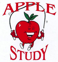 APPLE study graphic (apple with skipping rope)